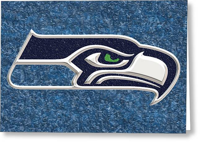 Co-founder Greeting Cards - Seattle Seahawks Mosaic Greeting Card by Jack Zulli