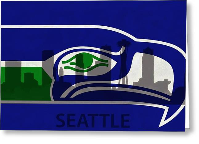League Greeting Cards - Seattle Seahawks On Seattle Skyline Greeting Card by Dan Sproul