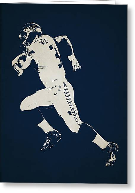 Russell Greeting Cards - Seattle Seahawks Shadow Player Greeting Card by Joe Hamilton