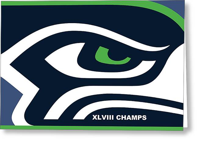 Champs Mixed Media Greeting Cards - Seattle Seahawks Super Bowl Champs Greeting Card by Tony Rubino