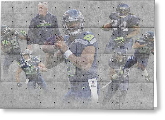 Seattle Greeting Cards Greeting Cards - Seattle Seahawks Team Greeting Card by Joe Hamilton