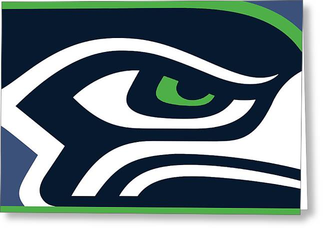 Contemporary Oil Greeting Cards - Seattle Seahawks Greeting Card by Tony Rubino