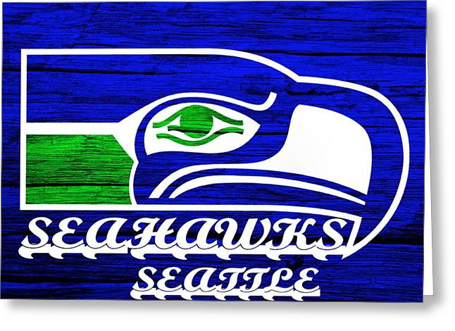 Champs Greeting Cards - Seattle Seahawks Weathered Wood Greeting Card by Dan Sproul