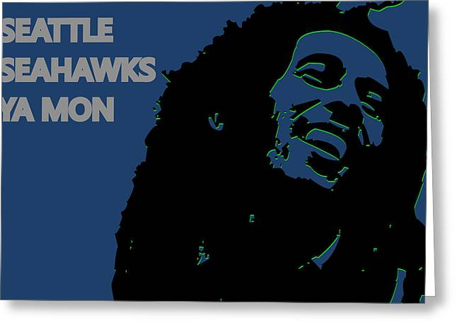 Team Greeting Cards - Seattle Seahawks Ya Mon Greeting Card by Joe Hamilton