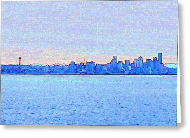 Ocean Panorama Greeting Cards - Seattle Greeting Card by Shawn Lacey