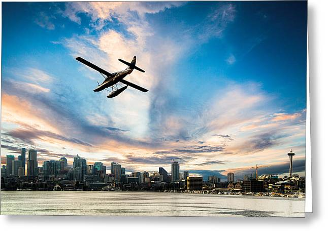 Pnw Greeting Cards - Seattle Short Final Greeting Card by Peter Irwindale
