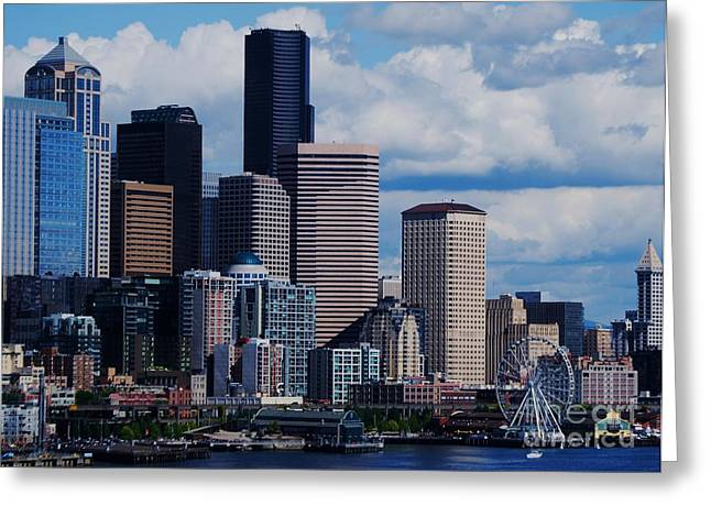Seattle Skyline Greeting Cards Greeting Cards - Seattle Skyline 2 Greeting Card by Marcus Dagan