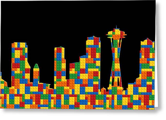 Lego Greeting Cards - Seattle Skyline 3 Greeting Card by Andrew Fare