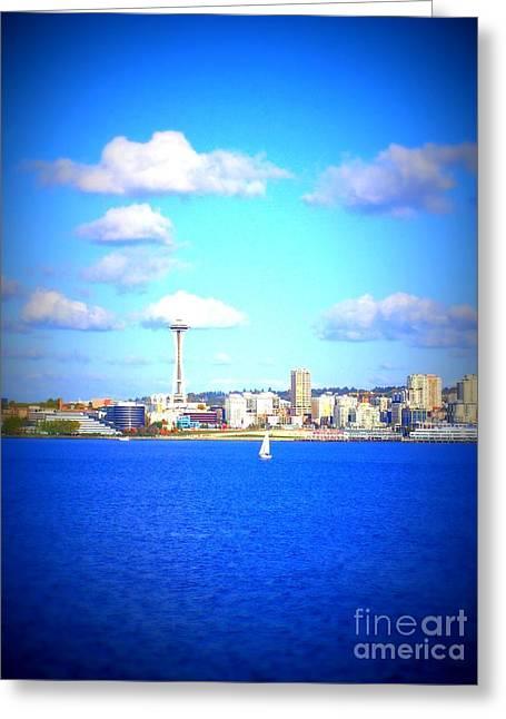 Office Space Digital Art Greeting Cards - Seattle Skyline 5 Greeting Card by Vicki Maheu