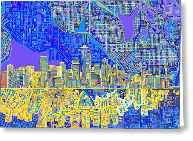 Recently Sold -  - Modern Digital Art Digital Art Greeting Cards - Seattle Skyline Abstract 6 Greeting Card by MB Art factory
