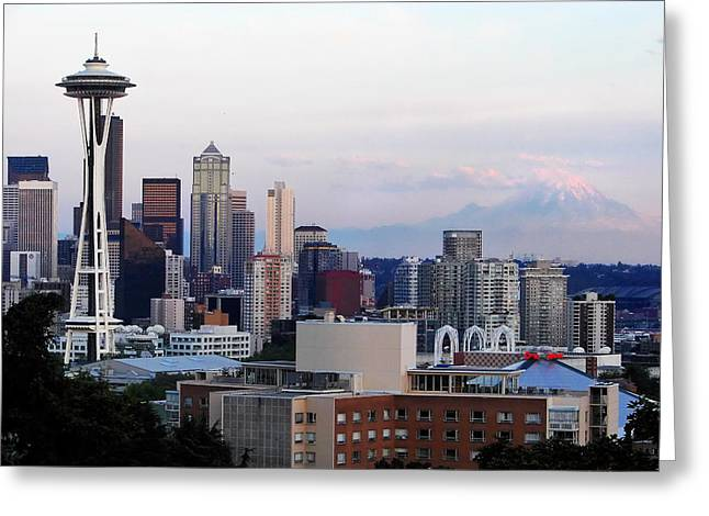 Pearl Jam Photographs Greeting Cards - Seattle Skyline Afternoon Greeting Card by Jack Nevitt