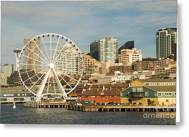 Geobob Greeting Cards - Seattle Skyline and Shoreline from Ferry to Bainbridge Island Washington Greeting Card by Robert Ford