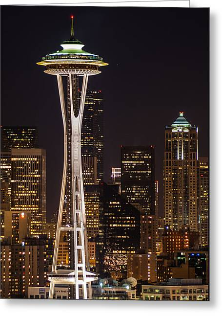 Towering Greeting Cards - Seattle Skyline at Night Greeting Card by Duane Miller