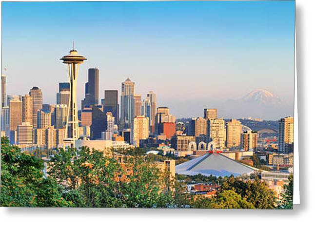 Haze Greeting Cards - Seattle skyline at sunset Greeting Card by JR Photography