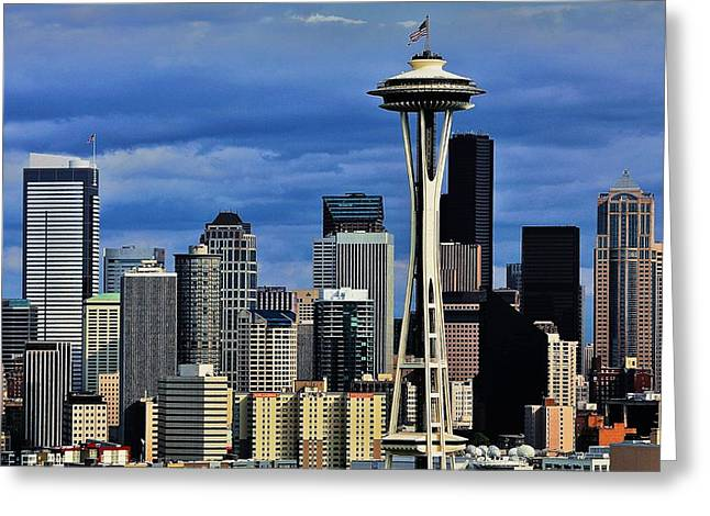 Seattle Skyline Greeting Card by Benjamin Yeager