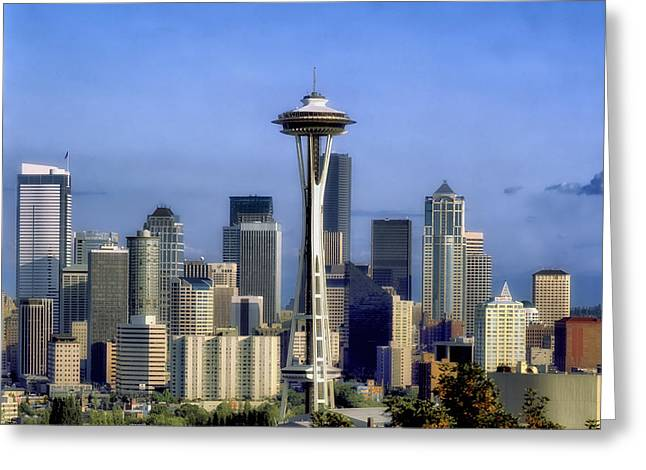 Urban Space Greeting Cards - Seattle Skyline Greeting Card by Mountain Dreams
