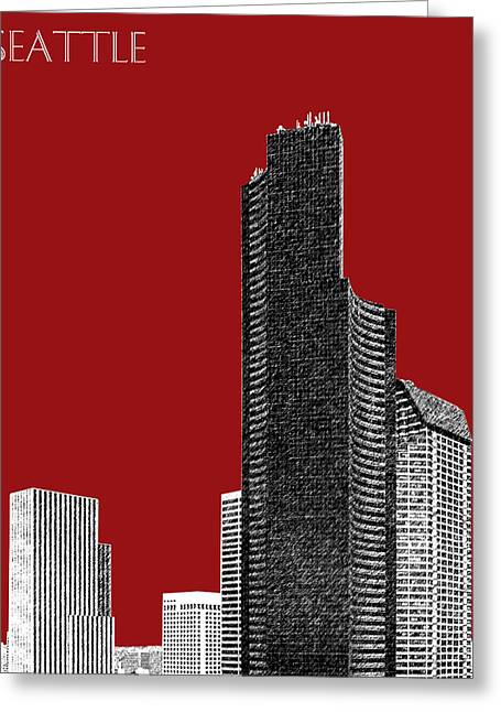 Seattle Skyline Greeting Cards - Seattle Skyline Columbia Tower - Dark Red Greeting Card by DB Artist
