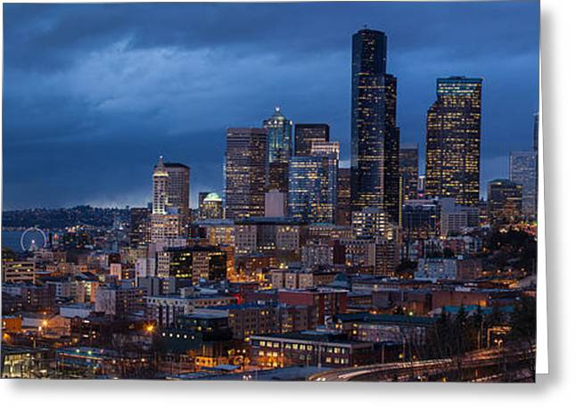 The Hills Greeting Cards - Seattle Skyline Evening Drama Greeting Card by Mike Reid
