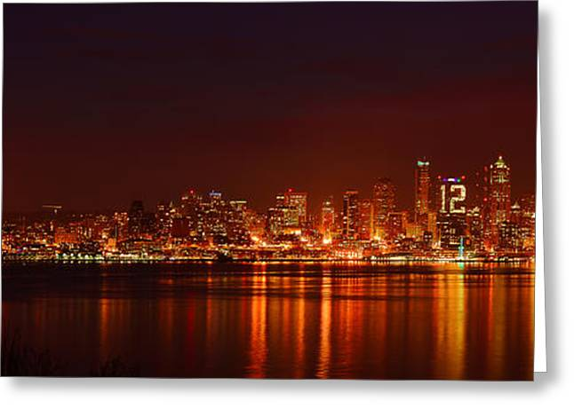 Seattle Skyline For 12th Man Greeting Card by Abhay P