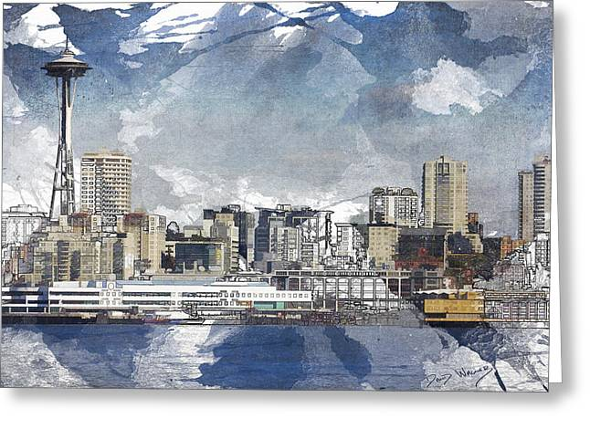 Seattle Waterfront Greeting Cards - Seattle Skyline Freeform Greeting Card by David Wagner