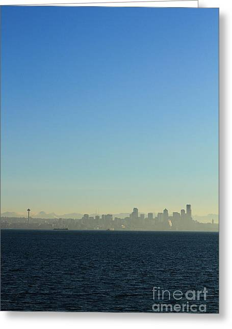 Inversion Greeting Cards - Seattle Skyline Greeting Card by Hans Koepsell