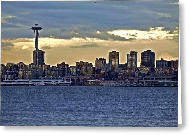 Alki Beach Greeting Cards - Seattle skyline in twilight Greeting Card by SC Heffner