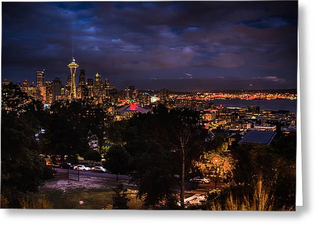 Office Space Greeting Cards - Seattle Skyline Greeting Card by Jonah  Anderson