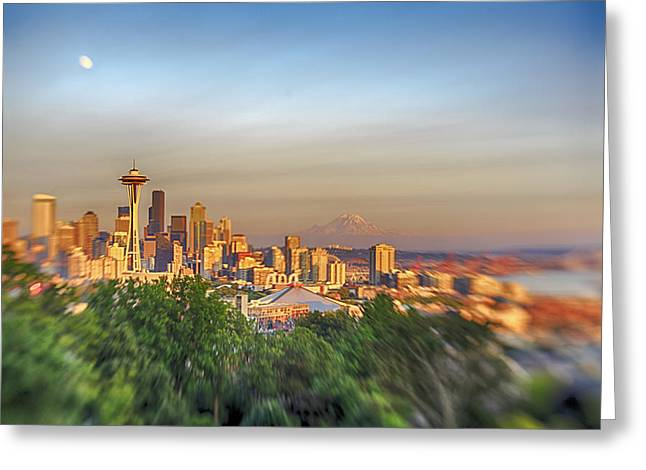 Seattle Skyline Lens Baby Hdr Greeting Card by Scott Campbell