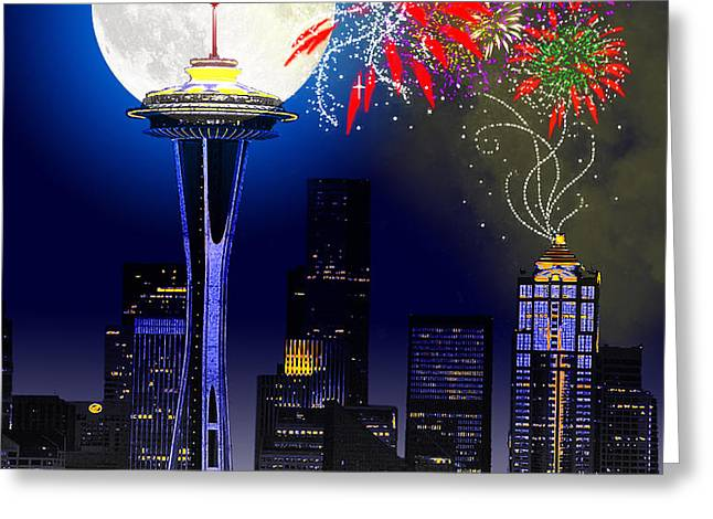 Seattle Skyline Greeting Card by Methune Hively