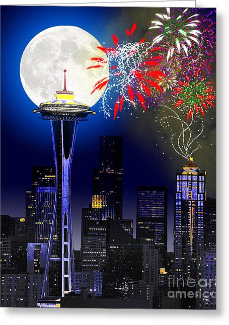 Seattle Photographs Greeting Cards - Seattle Skyline Greeting Card by Methune Hively