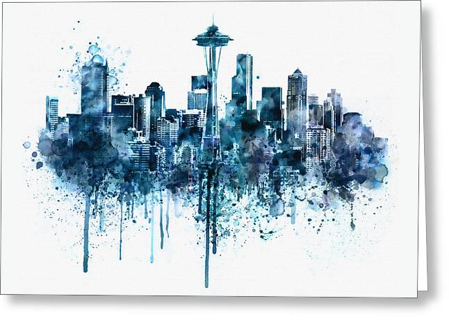 Modern Digital Art Digital Art Greeting Cards - Seattle Skyline monochrome watercolor Greeting Card by Marian Voicu