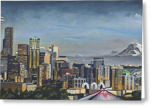 Needle Paintings Greeting Cards - Seattle Skyline Greeting Card by Nick Buchanan