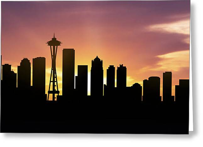 High Rise Greeting Cards - Seattle Skyline Panorama Sunset Greeting Card by Aged Pixel