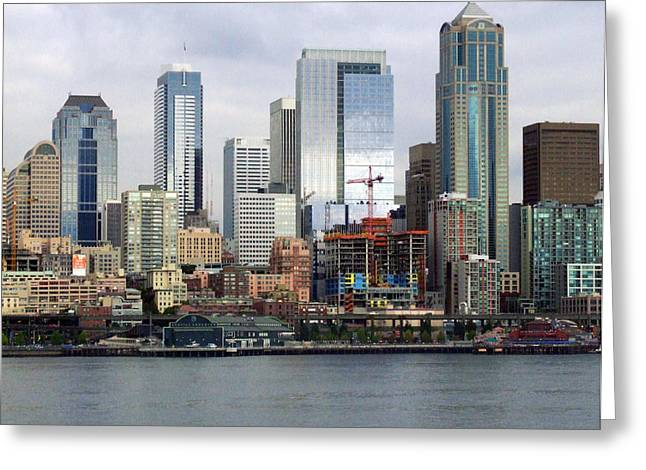 Seattle Skyline Greeting Cards Greeting Cards - Seattle Skyline Greeting Card by Ron Roberts