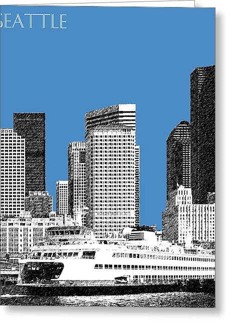 Seattle Skyline Greeting Cards - Seattle Skyline - Slate Greeting Card by DB Artist