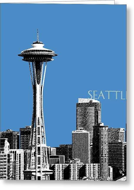 Office Space Greeting Cards - Seattle Skyline Space Needle - Slate Blue Greeting Card by DB Artist