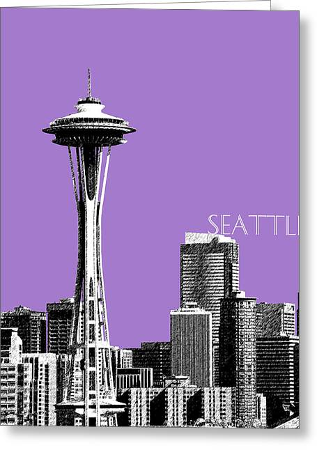 Pen Greeting Cards - Seattle Skyline Space Needle - Violet Greeting Card by DB Artist