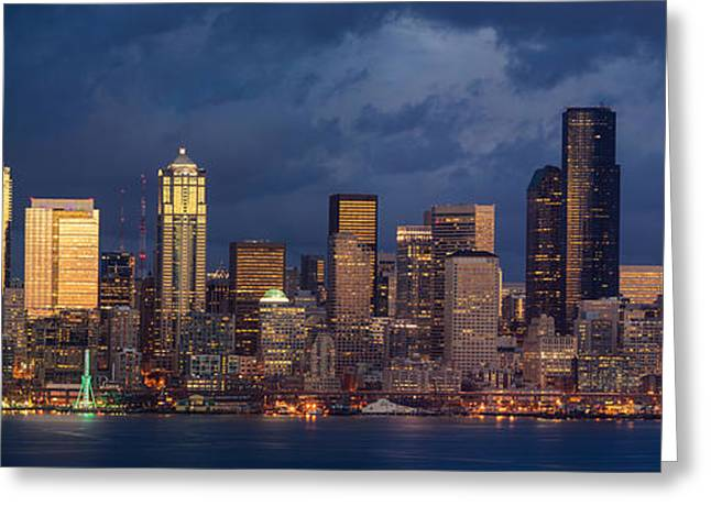 Seattle Skyline Greeting Cards - Seattle Skyline Sunset Detail Greeting Card by Mike Reid