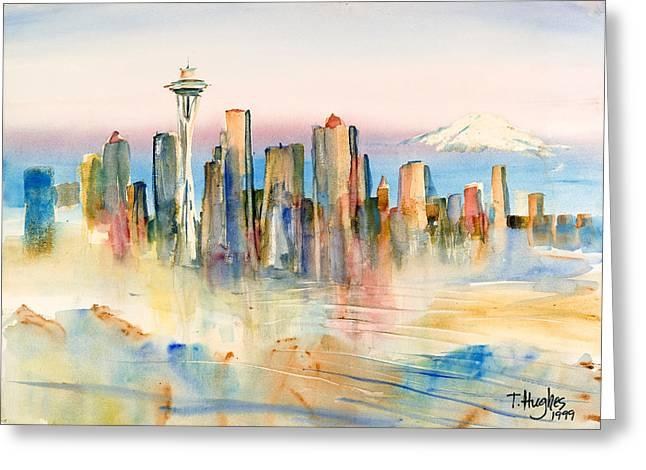 Haze Paintings Greeting Cards - Seattle Skyline Greeting Card by Thomas Hughes