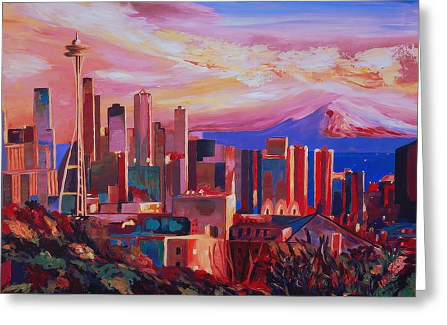 Spectacular Paintings Greeting Cards - Seattle Skyline with Space Needle and Mt Rainier Greeting Card by M Bleichner
