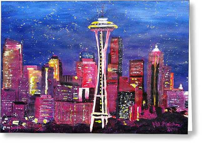 Seattle Skyline Greeting Cards Greeting Cards - Seattle Skyline with Space Needle at Night Greeting Card by M Bleichner