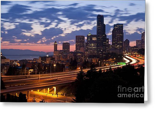 Highway Lights Greeting Cards - Seattle Skyline With Sunset Greeting Card by Jim Corwin