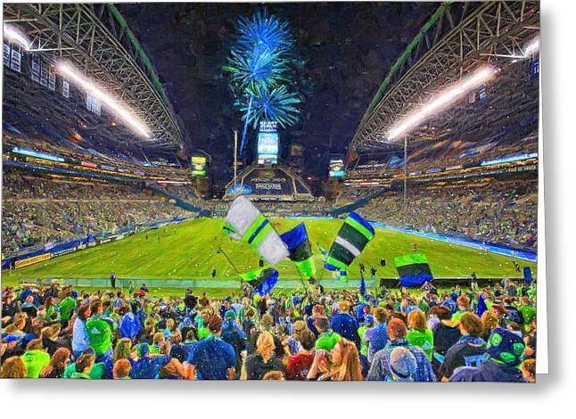 League Paintings Greeting Cards - Seattle Sounders Rock Greeting Card by John Farr