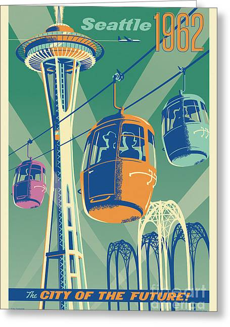 Future World Greeting Cards - Seattle Space Needle 1962 - Alternate Greeting Card by Jim Zahniser