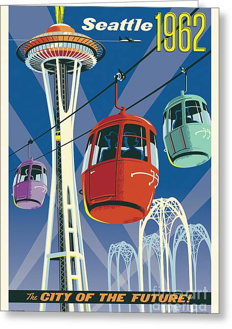 Future World Greeting Cards - Seattle Space Needle 1962 Greeting Card by Jim Zahniser