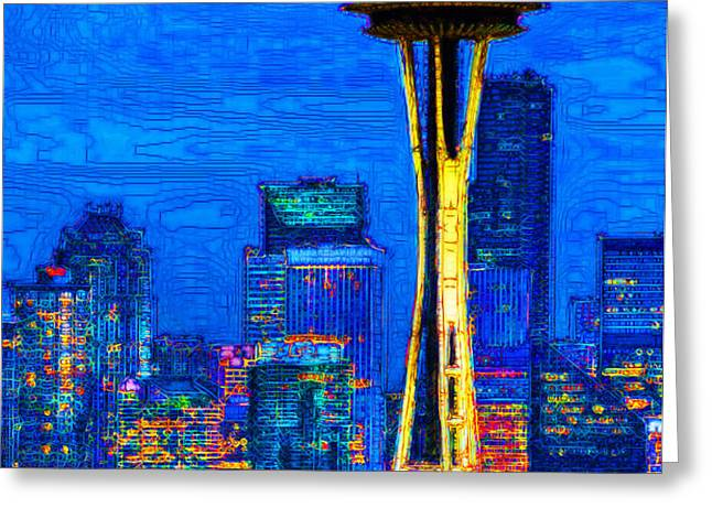 Seattle Space Needle 20130115v1 Greeting Card by Wingsdomain Art and Photography