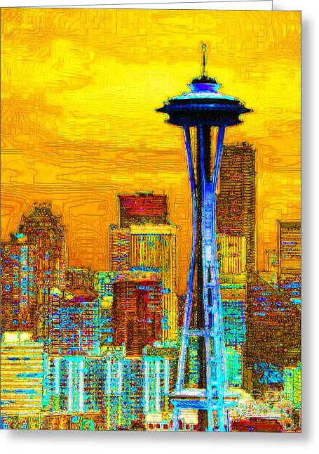 Future World Greeting Cards - Seattle Space Needle 20130115v2 Greeting Card by Wingsdomain Art and Photography