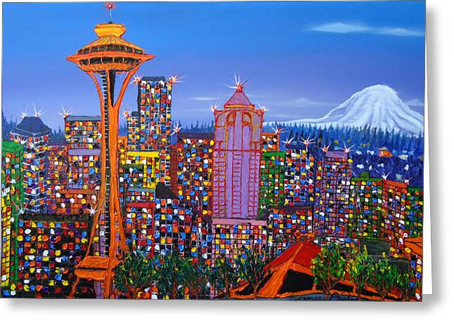 Seattle Space Needle 5 Greeting Card by Portland Art Creations
