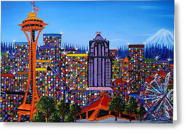 Microsoft. Paintings Greeting Cards - Seattle Space Needle #6 Greeting Card by James Dunbar