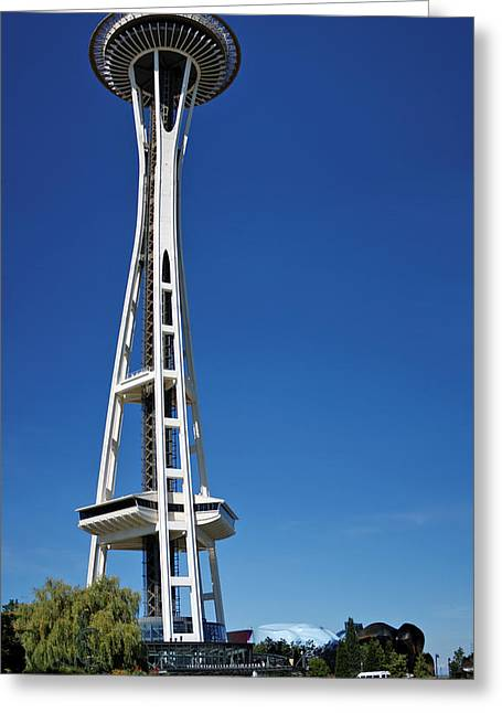 Space Needle Greeting Cards - Seattle Space Needle Greeting Card by Adam Romanowicz